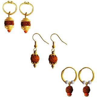 Menjewell Fancy Unisex Style Lord Shiva Rudraksha Bali ThreeCombo Set  Earring
