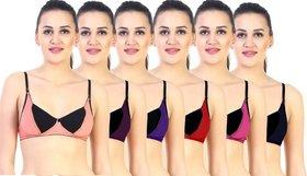 DeVry Multicolors Non- Padded Bra Set (6 Pc Set Combo )