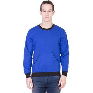 kristof royal blue round neck sweatshirt with kangaroo pockets