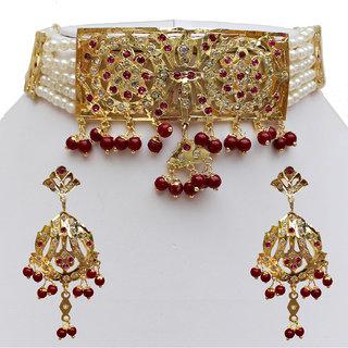 Lucky Jewellery Designer Navratan Magenta Gold Plated Necklace Set For Women