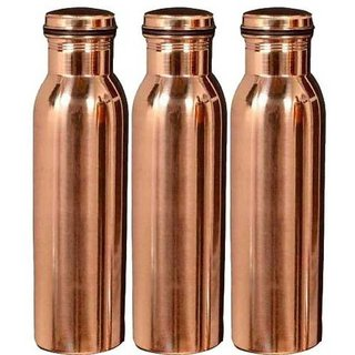 Clickmart Pure Copper Water Bottle 650 ML for ayurvedic Health Benefits(Pack of 3)