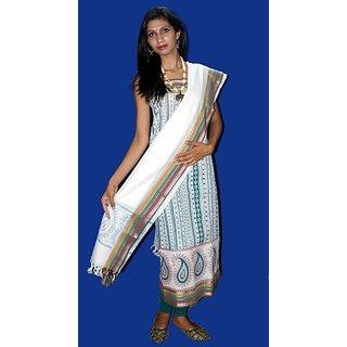 White South Cotton Self Print Suit With Cotton Dupatta (Unstitched)