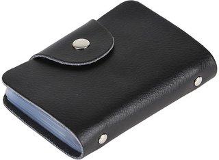 Men Black Genuine Leather Card Holder  10 Card Slots