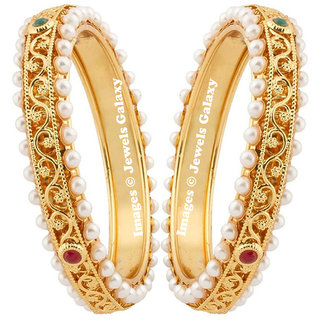 Jewels Galaxy Exclusive Edition Of Traditional Pearl Studded Magnificent Gold Plated Bangle Set For Women/Girls - Set Of