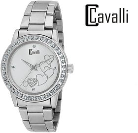 Cavalli Silver Dial Heart Printed Studded Love Watch-for Women;Girls