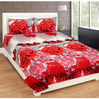 Textile Home Polycotton Red 3D double bedsheet with 2 pillow covers