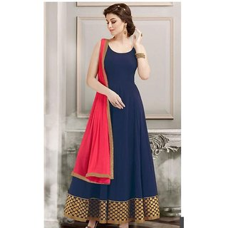 Greenvilla Designs Blue Georgette Anarkali Dress With Dupatta