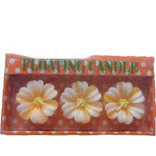 Beautiful Yellow Floral Design Floating Candles- Pack of 3