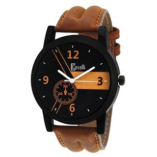 Cavalli India Casual Analogue Tan Leather Strap Multicolour Dial Men's Watch Cw-333