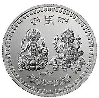 Jaipur Gemstone 20GM Certified Natural Lakshmi Ganesh Silver Coin For Diwali Puja