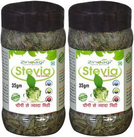 Zindagi Stevia Dry Leaves - Best Stevia Leaves For Diabetic Patients - Natural Sugarfree Sweetener (Pack Of 2)