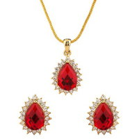 Dg Jewels 24k Gold Plated Bollywood Gem Stone Pendant Set-CPS8046