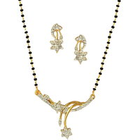 Dg Jewels GoldenSilver Alloy Gold Plated Mangalsutra With Earrings For Women