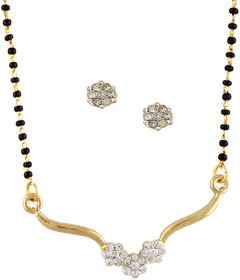 DG Jewels Gold Plated Multicolor Alloy Mangalsutra with Earrings for Women