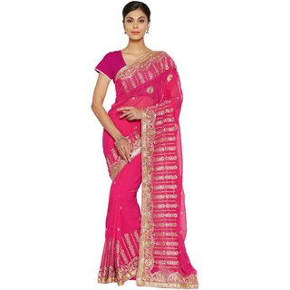 Florence Pink Chiffon Embroidered  Party Wear  Saree with Embroidered Chiffon Blouse
