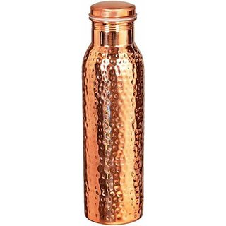 Clickmart Pure Copper Water Bottle Hammered 1000 ML (Pack of 1)