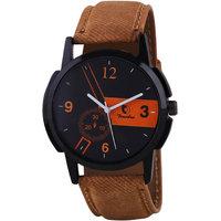 Timebre Round Dial Brown Leather Strap Men Quartz Watch