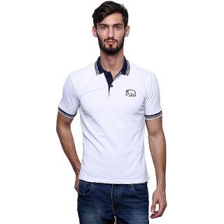 White Men's Multicolor Polo Collar T-Shirt