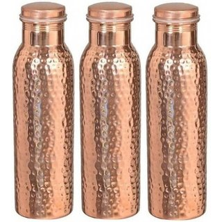 Clickmart Pure Copper Water Bottle Hammered 1000 ML For  Health Benefits(Pack of 3)