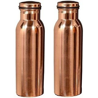 Clickmart Pure Copper Water Bottle 650 ML for ayurvedic Health Benefits(Pack of 2)
