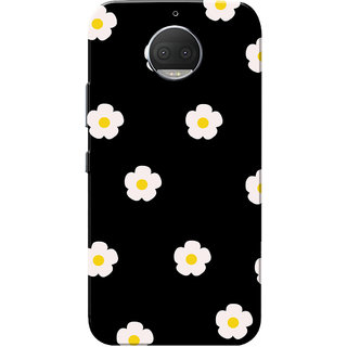 Moto G5s Plus Case, White Flowers Pattern Black Slim Fit Hard Case Cover/Back Cover for Motorola Moto G5s Plus