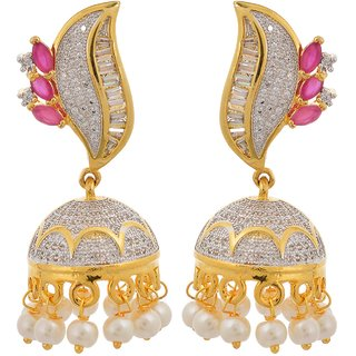 Tistabene Retails Contemporary American Diamond Colored Stones Jhumki Earring for Women And Girls (ER-0801)