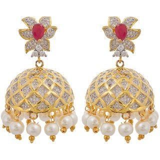 Tistabene Retails Floral American Diamonds Party Wear Designer Jhumkir Earring For Women And Girls (ER-0802)