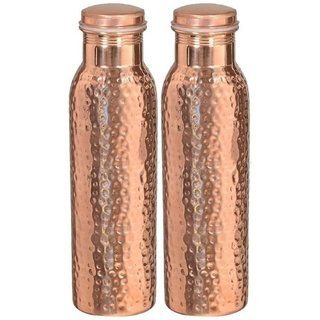 Clickmart Pure Copper Water Bottle Hammered 650 ML For  Health Benefits(Pack of 2)