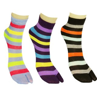 Pack Of 3 Pairs Women Striped Multicolor Ankle Length Thin Cotton Thumb Socks, Ladies Socks