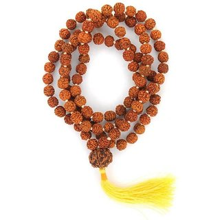 108Beads Five Face Guru Rudraksha Mala Wood Nacklace