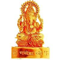 Golden Ganeshji Idol - Suitable For Car Or Home Or Diwa
