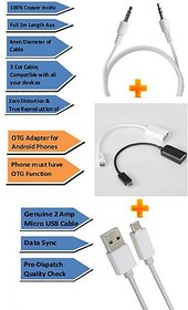 Pinnaclz Combo of Aux 1m + Ultra Fast 2Amp Micro USB Charge  Data Sync Cable 1m + OTG Adapter Micro USB (Assorted Col)