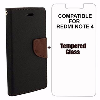 quality design c19a6 9bcf2 Mercury Diary Wallet Flip Case Cover for RedMi Note 4 + Tempered Glass