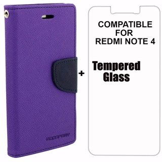 Mercury Diary Wallet Flip Case Cover for RedMi Note 4 Purple Premium Quality + Tempered Glass By Mobimon