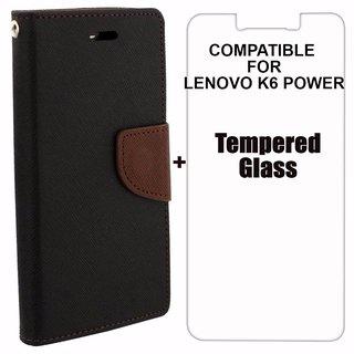 reputable site dcbbc a4c90 Mobimon Mercury Diary Wallet Flip Case Cover for Lenovo K6 Power Brown  Black Premium Quality + Tempered Glass