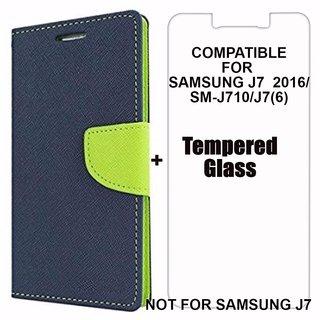 Mobimon Mercury Wallet Dairy Flip Cover for Samsung Galaxy J7(6) / J7 (2016) / J710 Premium Quality Blue +Tempered Glass