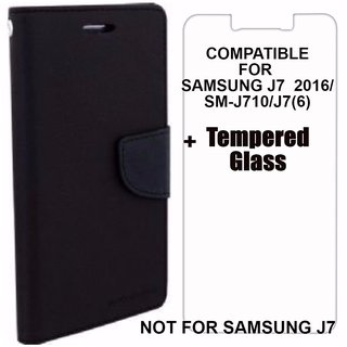 sports shoes f72ae 5a487 Mobimon Mercury Wallet Dairy Flip Cover for Samsung Galaxy J7(6) /J7 (2016)  /J710 Premium Quality Blue + Tempered Glass