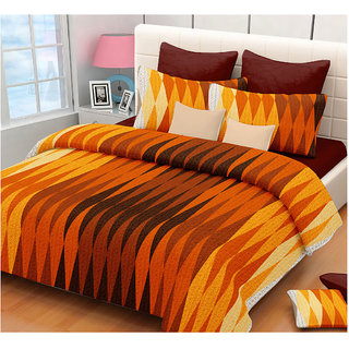 The Intellect Bazaar 150 TC Cotton Double Bed Sheet With 2 Pillow Covers Orange