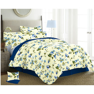 The Intellect Bazaar 150 TC Cotton Double Bed Sheet With 2 Pillow Covers Blue