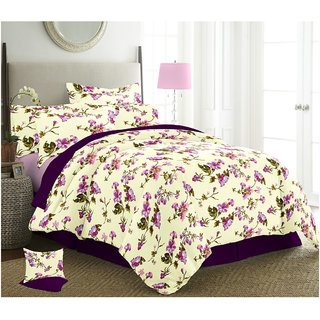 The Intellect Bazaar 150 TC Cotton Double Bed Sheet With 2 Pillow Covers Pink