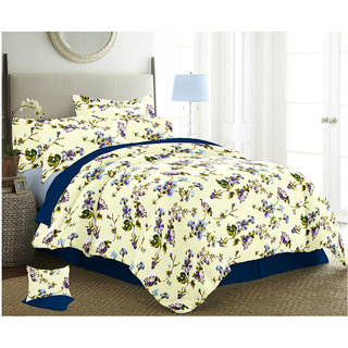 The Intellect Bazaar 150 TC Cotton Double Bed Sheet With 2 Pillow Covers Purple