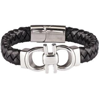 DAPPER HOMME Black Casual Unisex Leather Bracelets