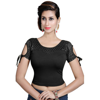 a858646f2491f Buy Gargi Stretchable Blouse In Fancy Cold Shoulder And Net Styling on  Sleeve and front Pattern. Online   ₹1094 from ShopClues