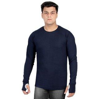 gWOWg Mens Fullsleeve Round Neck Navy Blue Cotton Tshirt