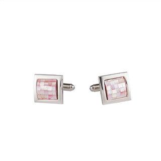 DAPPER HOMME Pink Self Design Cufflinks for Men