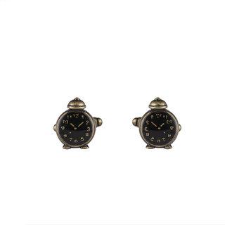 DAPPER HOMME Black and Bronze Self Design Cufflinks for Men