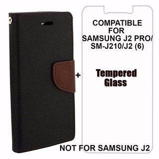 Mercury Diary Wallet Flip Case Cover for Samsung Galaxy J2(6) / J2 2016 / J210 Brown  Black + Tempered Glass