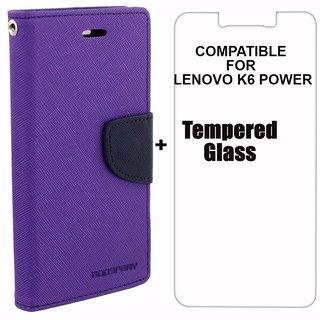 Mobimon Mercury Diary Wallet Flip Case Cover for Lenovo K6 Power Purple Premium Quality + Tempered Glass