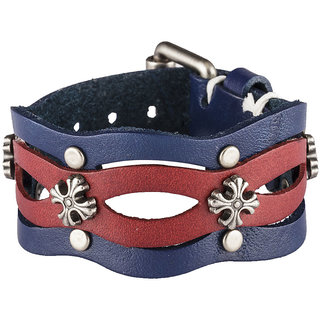 DAPPER HOMME Blue and Red Casual Unisex Leather Bracelets