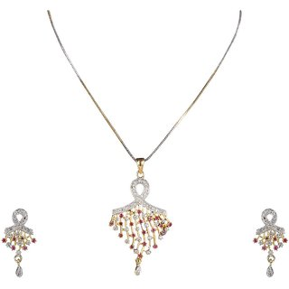DS Gold Plated American Diamond Multicolour Pendant Set With Chain And Earrings for Girls and Women(DS201)